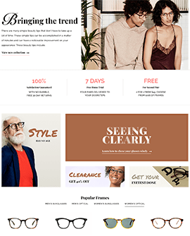 Glasses Shopify homepage template
