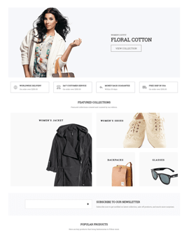Fashion Shopify page template - Clean style